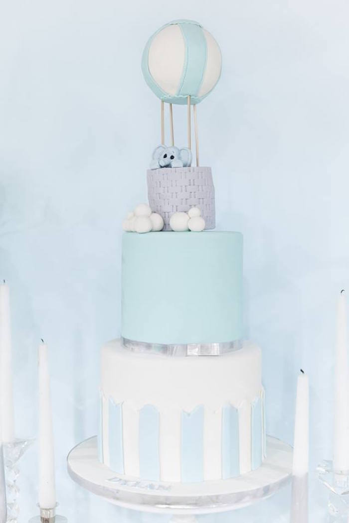"Elephant Hot Air Balloon Cake from a ""You are my Greatest Adventure"" Hot Air Balloon Baby Shower on Kara's Party Ideas 