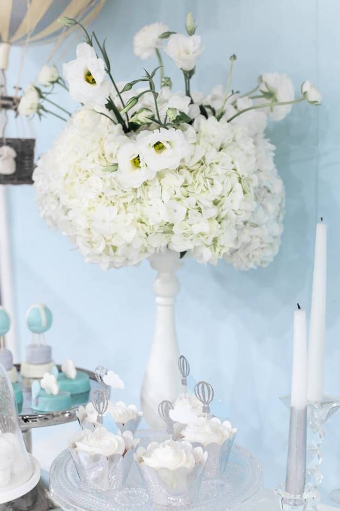 """White flower arrangement from a """"You are my Greatest Adventure"""" Hot Air Balloon Baby Shower on Kara's Party Ideas 