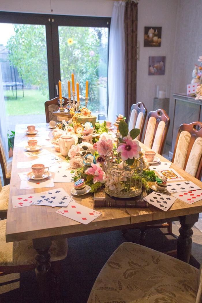 Party table from an Alice in Wonderland Halloween Tea Party on Kara's Party Ideas | KarasPartyIdeas.com (9)