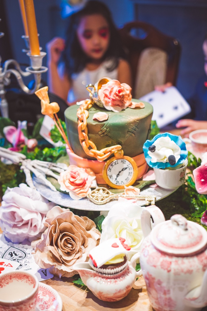 Mad Hatter cakescape from an Alice in Wonderland Halloween Tea Party on Kara's Party Ideas | KarasPartyIdeas.com (7)