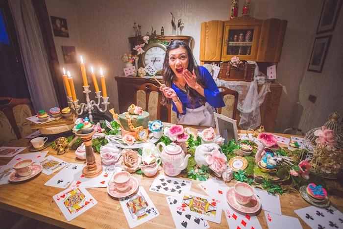 Tea party tablescape from an Alice in Wonderland Halloween Tea Party on Kara's Party Ideas | KarasPartyIdeas.com (6)