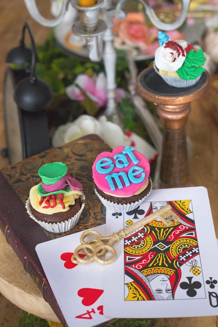 Cupcakes from an Alice in Wonderland Halloween Tea Party on Kara's Party Ideas | KarasPartyIdeas.com (4)