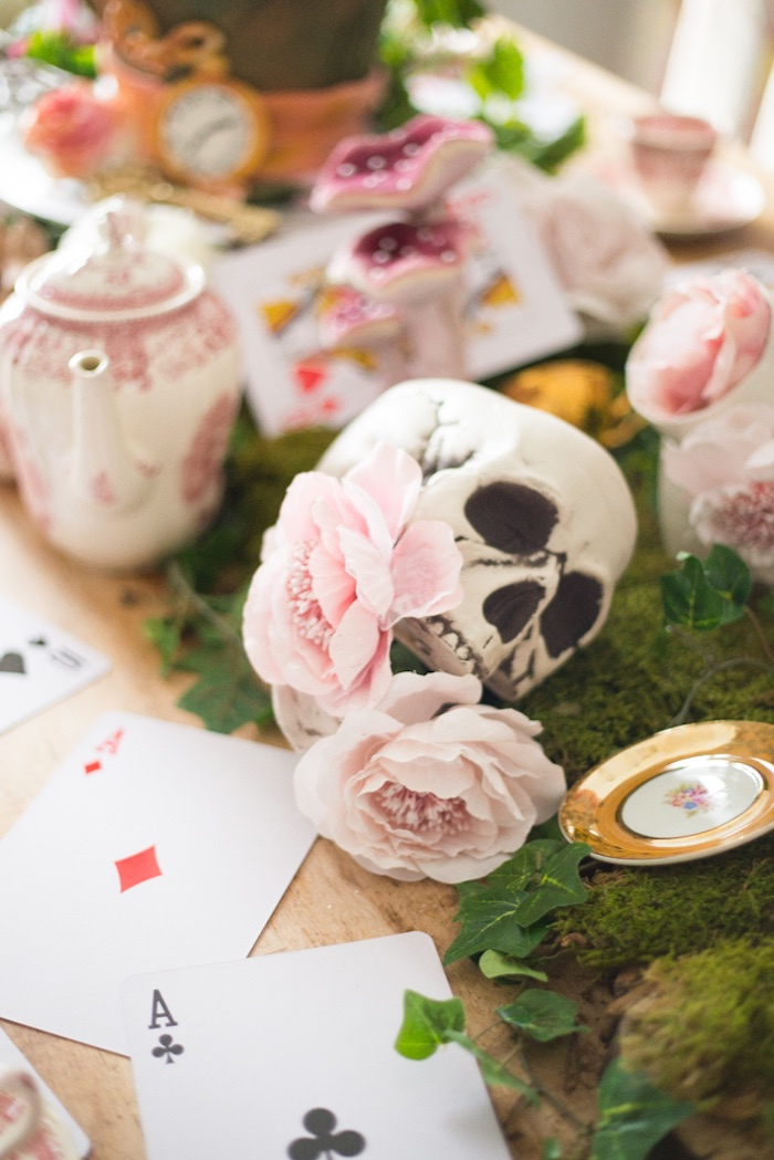 Skull and flowers from an Alice in Wonderland Halloween Tea Party on Kara's Party Ideas | KarasPartyIdeas.com (19)