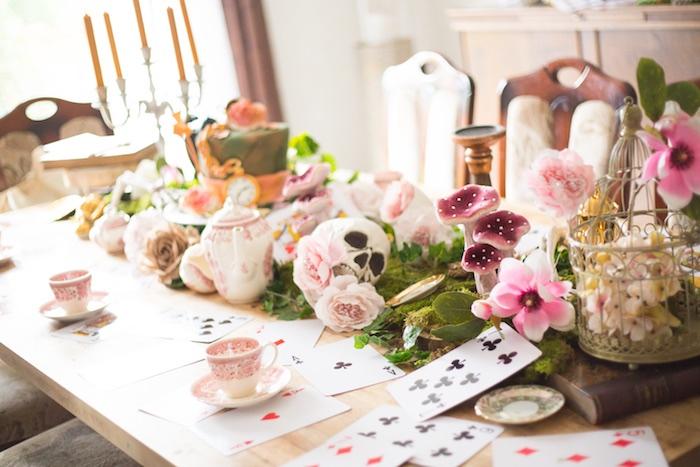 Tea table from an Alice in Wonderland Halloween Tea Party on Kara's Party Ideas | KarasPartyIdeas.com (18)
