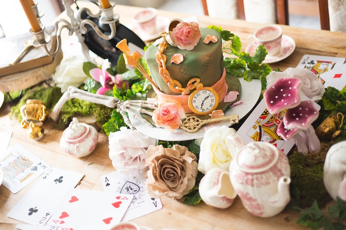 Cakescape from an Alice in Wonderland Halloween Tea Party on Kara's Party Ideas | KarasPartyIdeas.com (17)