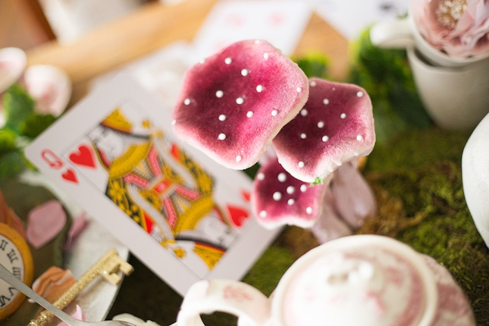 Toadstool decorations from an Alice in Wonderland Halloween Tea Party on Kara's Party Ideas | KarasPartyIdeas.com (16)