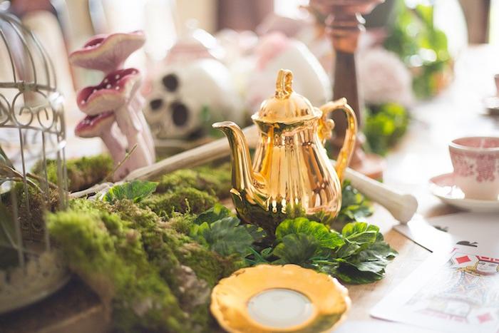 Tea kettle and moss from a Alice in Wonderland Halloween Tea Party on Kara's Party Ideas | KarasPartyIdeas.com (14)