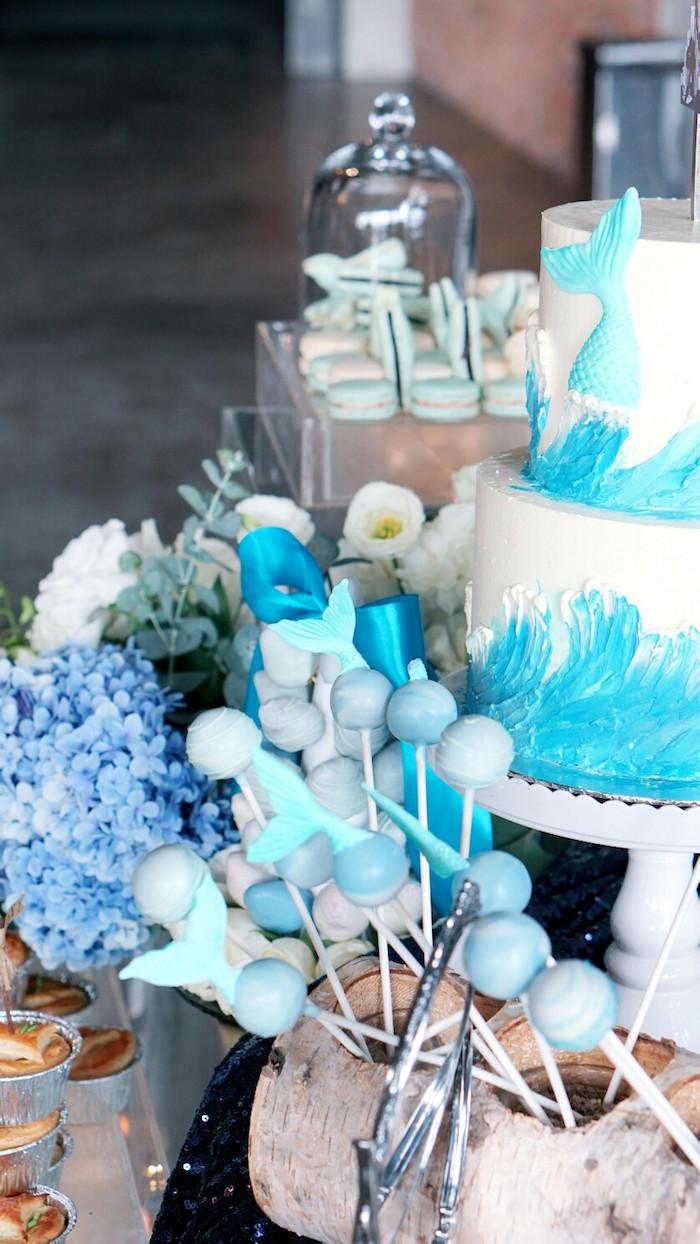 Cake and cake pops from an Atlantis + Ocean Inspired Wedding on Kara's Party Ideas | KarasPartyIdeas.com (16)