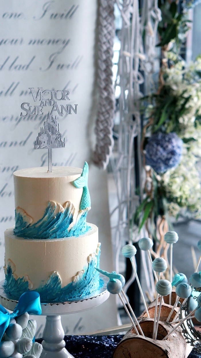 Cake from an Atlantis + Ocean Inspired Wedding on Kara's Party Ideas | KarasPartyIdeas.com (15)