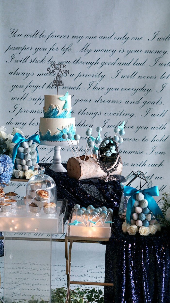 Dessert table from an Atlantis + Ocean Inspired Wedding on Kara's Party Ideas | KarasPartyIdeas.com (14)