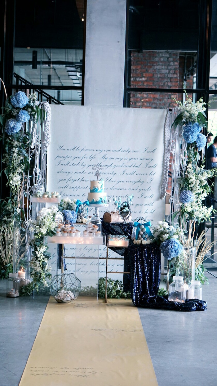 Atlantis + Ocean Inspired Wedding + Dessert Table on Kara's Party Ideas | KarasPartyIdeas.com (13)