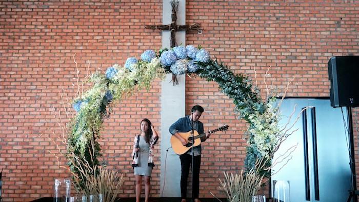 Floral arch from an Atlantis + Ocean Inspired Wedding on Kara's Party Ideas | KarasPartyIdeas.com (8)