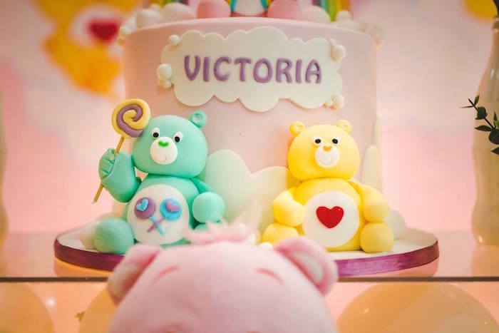 Fondant Care Bears + Cake Detail from a Care Bear Birthday Party on Kara's Party Ideas | KarasPartyIdeas.com (10)