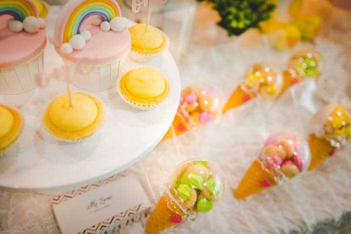 Cupcakes and candy cones from a Care Bear Birthday Party on Kara's Party Ideas | KarasPartyIdeas.com (7)