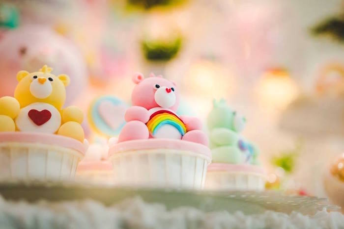 Care Bear Cupcakes from a Care Bear Birthday Party on Kara's Party Ideas | KarasPartyIdeas.com (19)