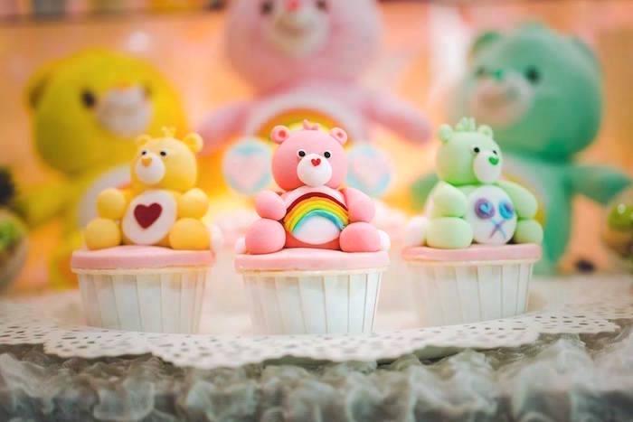 Care Bear Cupcakes from a Care Bear Birthday Party on Kara's Party Ideas | KarasPartyIdeas.com (14)