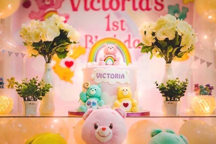 Care Bear Cake from a Care Bear Birthday Party on Kara's Party Ideas | KarasPartyIdeas.com (13)