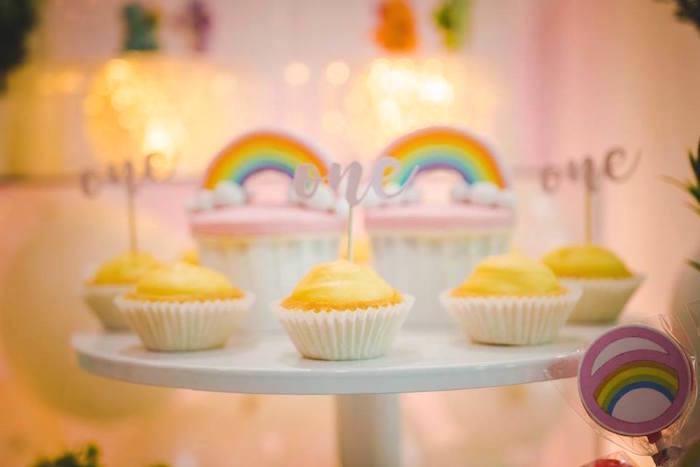 Tarts and rainbow cupcakes from a Care Bear Birthday Party on Kara's Party Ideas | KarasPartyIdeas.com (11)