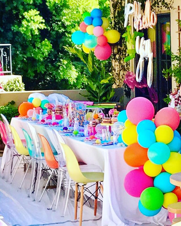 Guest table from a Colorful Modern 10th Birthday Party on Kara's Party Ideas | KarasPartyIdeas.com