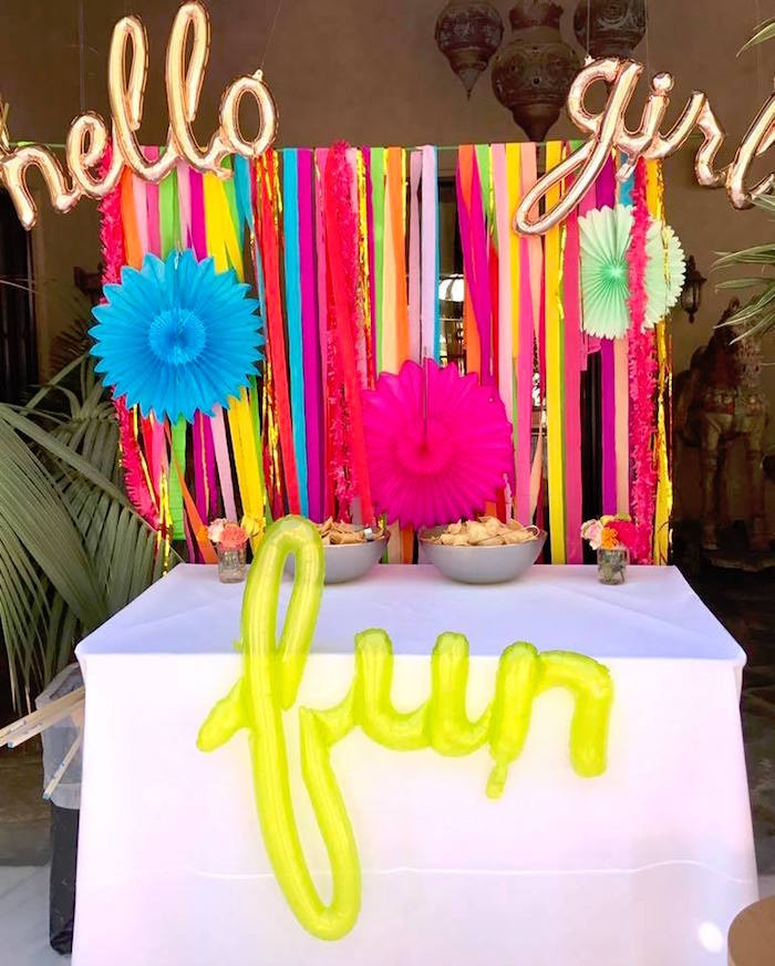 Fun table from a Colorful Modern 10th Birthday Party on Kara's Party Ideas | KarasPartyIdeas.com