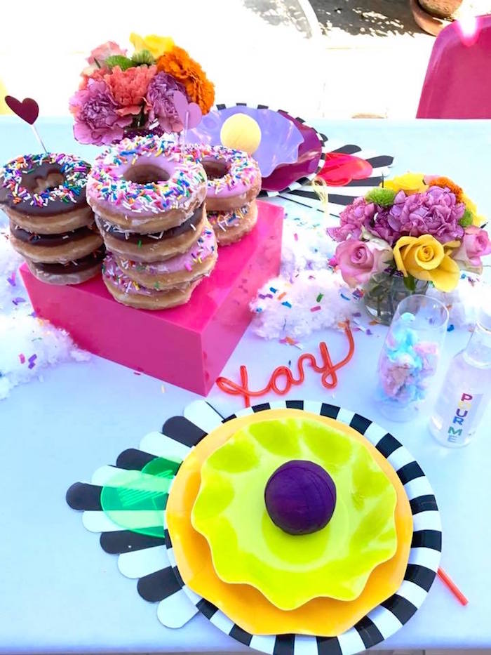 Table setting + sweets + decor from a Colorful Modern 10th Birthday Party on Kara's Party Ideas | KarasPartyIdeas.com