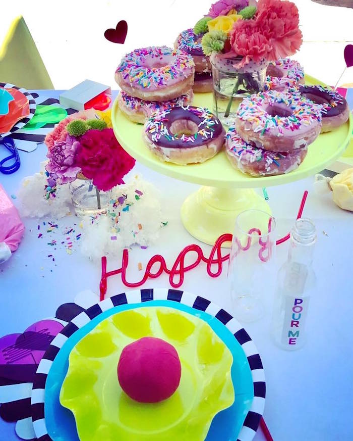 Place setting + donuts from a Colorful Modern 10th Birthday Party on Kara's Party Ideas | KarasPartyIdeas.com