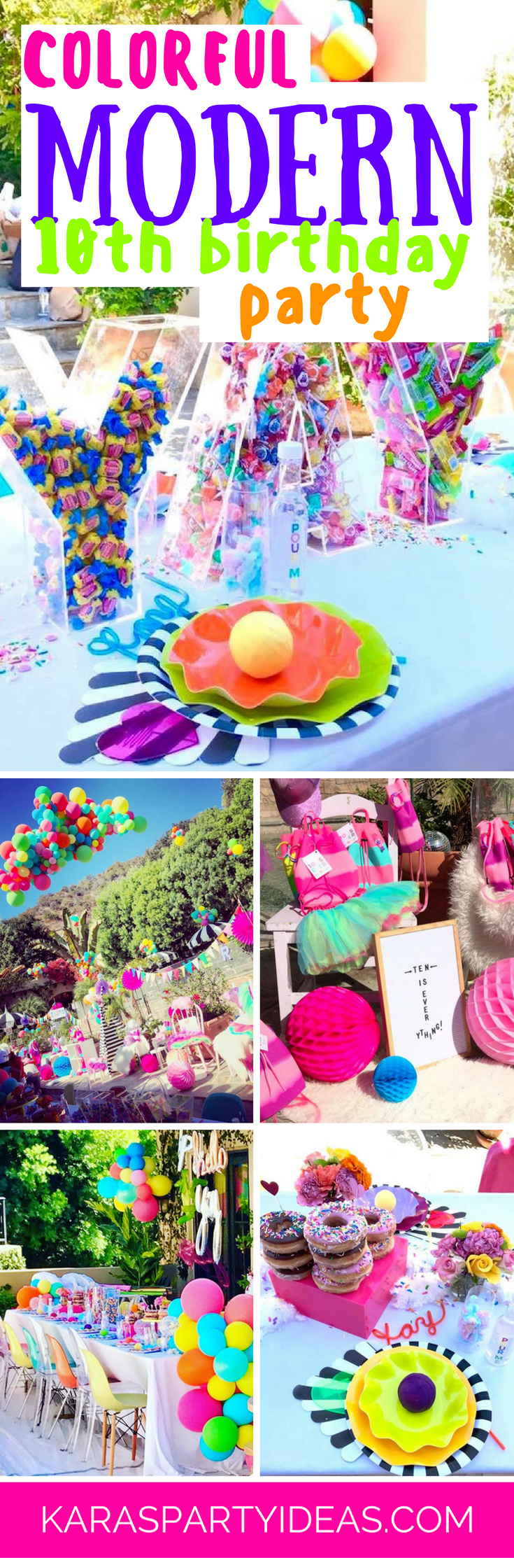 Colorful Modern 10th Birthday Party via Kara's Party Ideas - KarasPartyIdeas.com