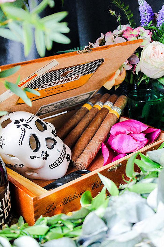 Cigar box from a Day of the Dead Halloween Party on Kara's Party Ideas | KarasPartyIdeas.com (10)