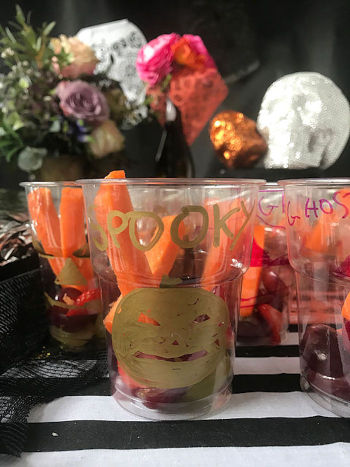 Spooky veggie cups from a Day of the Dead Halloween Party on Kara's Party Ideas | KarasPartyIdeas.com (8)