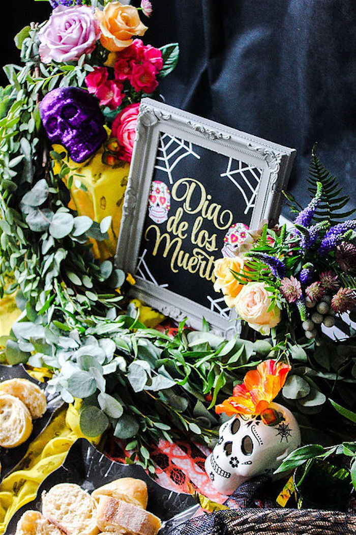 Greenery and decor from a Day of the Dead Halloween Party on Kara's Party Ideas | KarasPartyIdeas.com (7)
