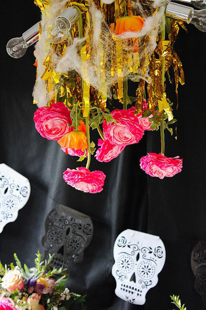 Flower chandelier from a Day of the Dead Halloween Party on Kara's Party Ideas | KarasPartyIdeas.com (6)