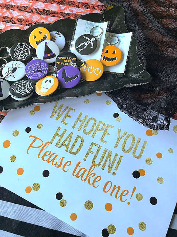 Favor pins from a Day of the Dead Halloween Party on Kara's Party Ideas | KarasPartyIdeas.com (20)