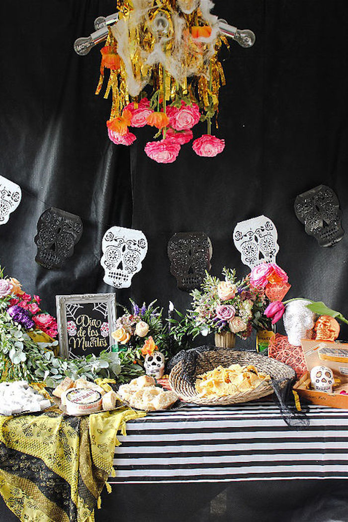 Head party table from a Day of the Dead Halloween Party on Kara's Party Ideas | KarasPartyIdeas.com (14)