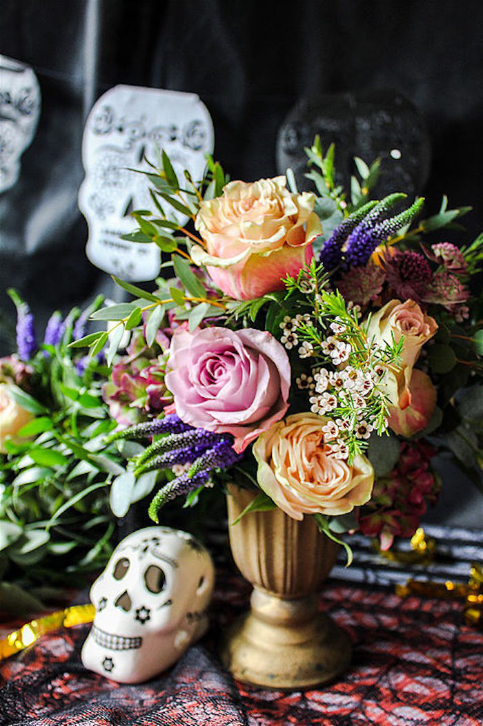 Floral arrangement from a Day of the Dead Halloween Party on Kara's Party Ideas | KarasPartyIdeas.com (13)
