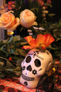 Flower & Skull Decoration from a Day of the Dead Halloween Party on Kara's Party Ideas | KarasPartyIdeas.com (12)