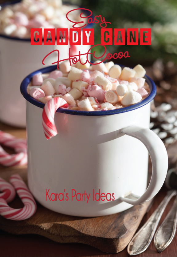 Easy Peppermint Hot Chocolate Recipe | Hot Chocolate Recipe | Hot Chocolate Party | Kara's Party Ideas #hotchocolaterecipe #pepperminthotchocolate #hotcocoarecipe #winterrecipe