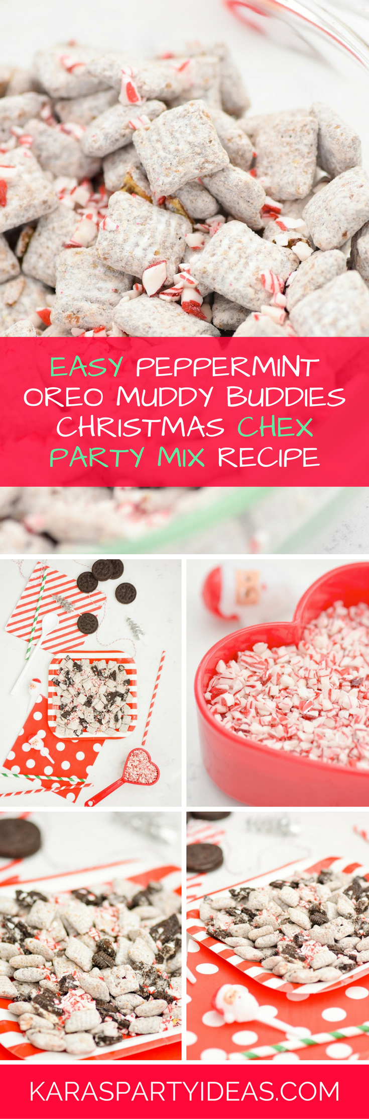 Easy Peppermint Oreo Muddy Buddies Christmas Chex Party Mix Recipe via Kara's Party Ideas - KarasPartyIdeas.com