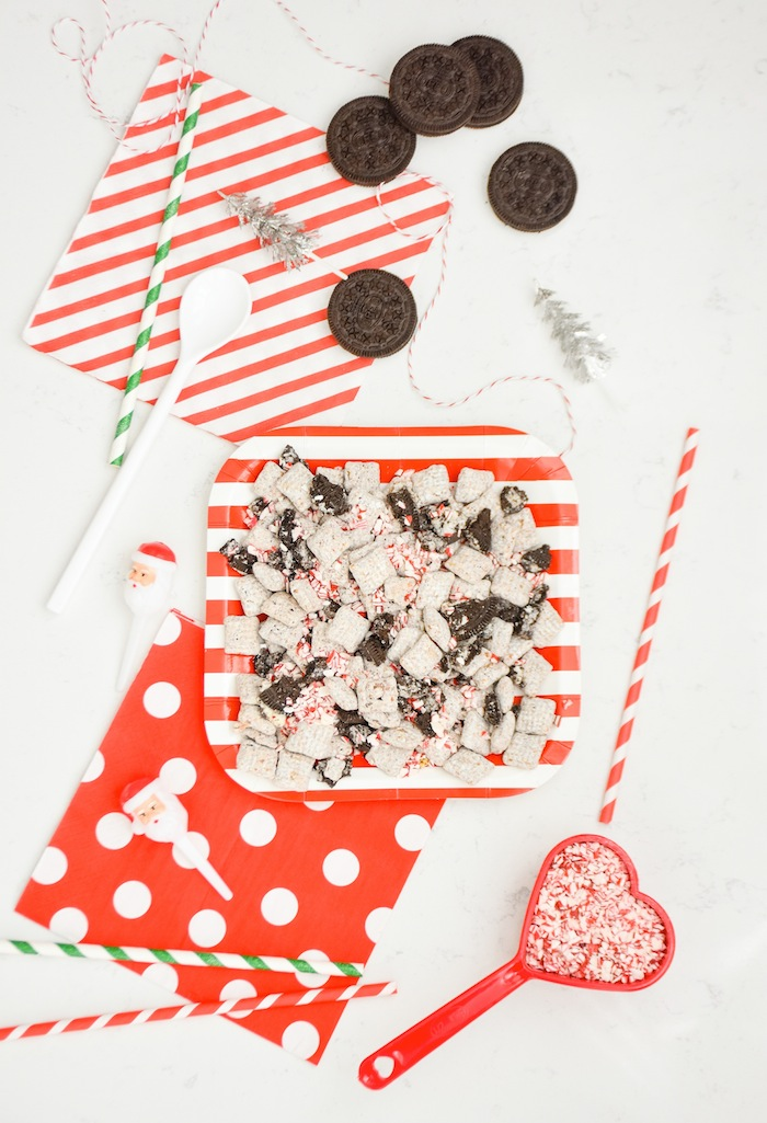 Easy Peppermint Oreo Muddy Buddies Christmas Chex Mix Recipe via Kara's Party Ideas
