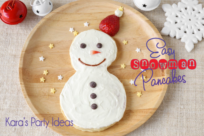 Easy Snowman Pancake | Kara's Party Ideas | Snowman recipe | Christmas breakfast recipe | #snowmanpancake #christmasbreakfast #christmasbreakfastrecipe #christmas2017 #karaspartyideas #recipes #breakfastrecipe