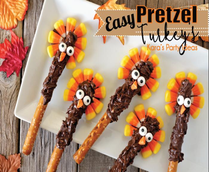 Easy Thanksgiving Candy Recipe | Thanksgiving Pretzel Turkey's | Kara's Party Ideas #thanksgiving2017 #thanksgivingfood #thanksgivingcandy #thanksgivingkids #kidsthanksgiving #kidsthanksgivingactivities #turkey #turkeypretzels #thanksgivingtreats