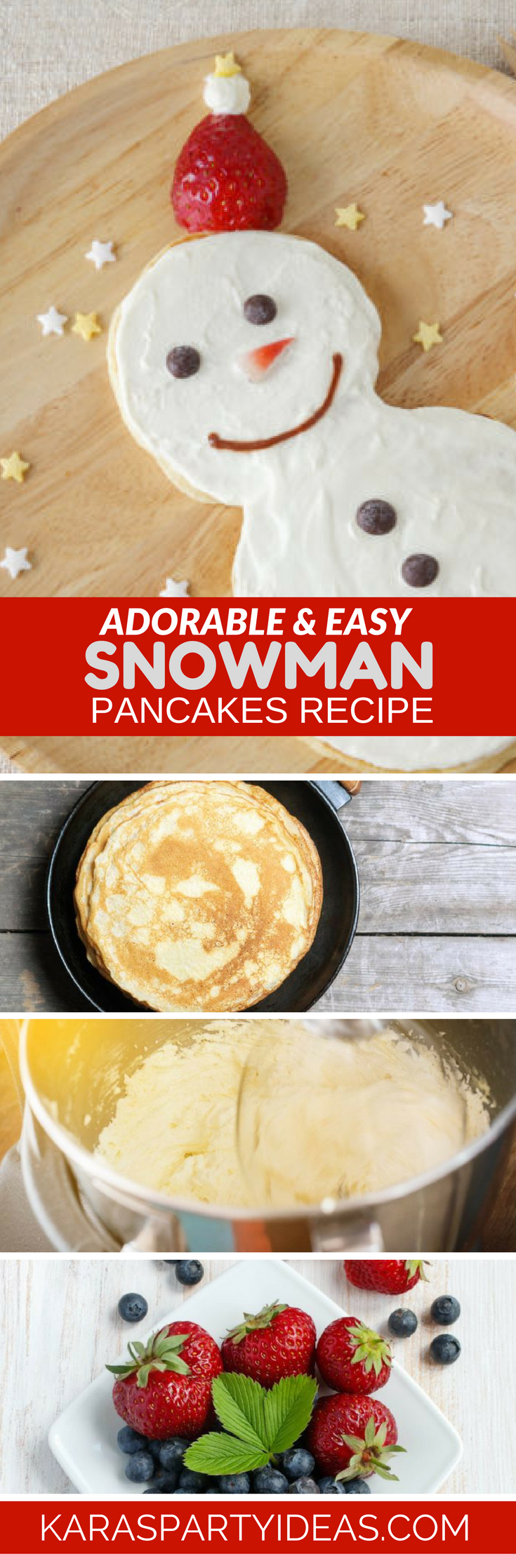 Easy and Adorable Snowman Pancake Recipe via Kara's Party Ideas - KarasPartyIdeas.com (1)