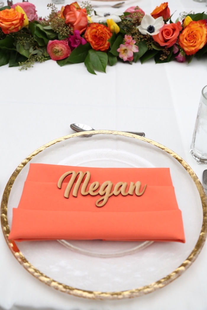 Gold rimmed plate with personalized wooden name + place setting from an Elegant Floral Bridal Shower Brunch on Kara's Party Ideas | KarasPartyIdeas.com (5)