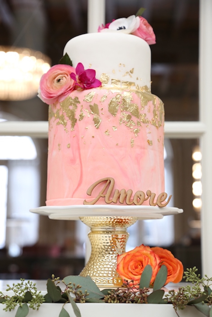 Pink & white gold flecked cake from an Elegant Floral Bridal Shower Brunch on Kara's Party Ideas | KarasPartyIdeas.com (15)