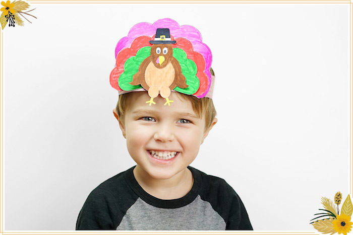 Turkey Hat from a FREE Thanksgiving Hat Printable Crafts on Kara's Party Ideas | KarasPartyIdeas.com (11)
