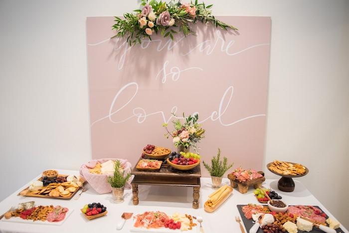 Charcuterie table from a Fall Boho Chic Baby Shower on Kara's Party Ideas | KarasPartyIdeas.com (24)