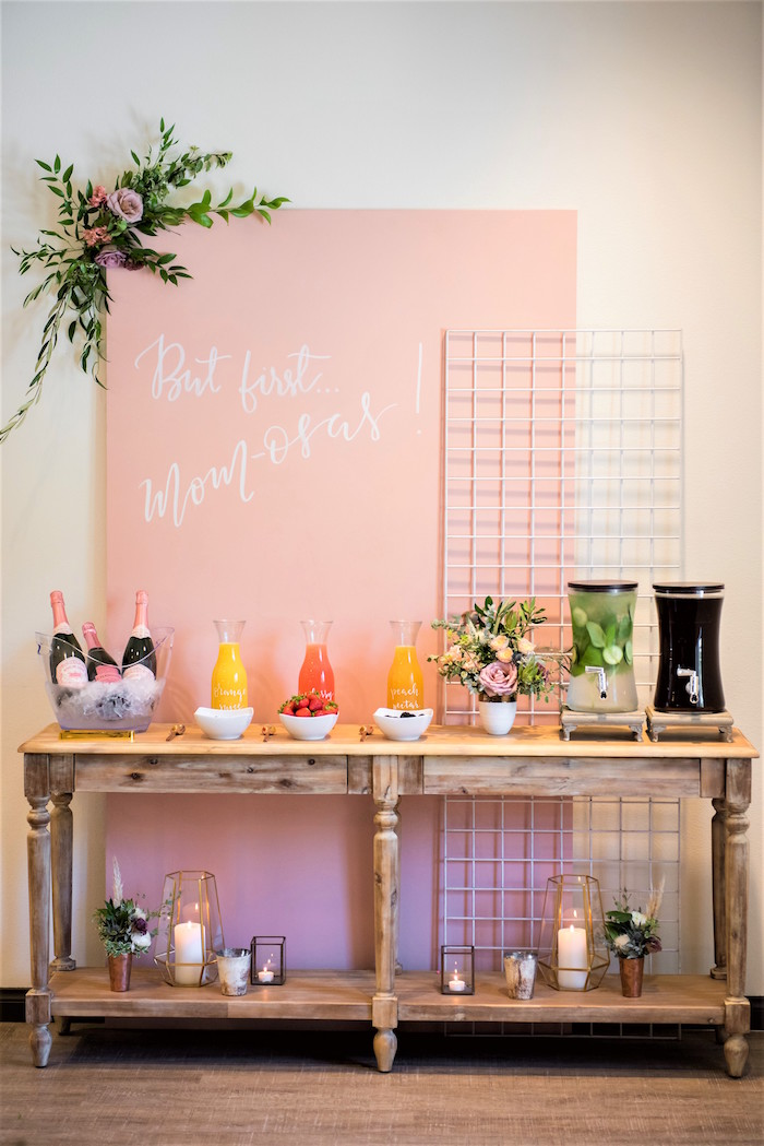 Beverage table from a Fall Boho Chic Baby Shower on Kara's Party Ideas | KarasPartyIdeas.com (23)
