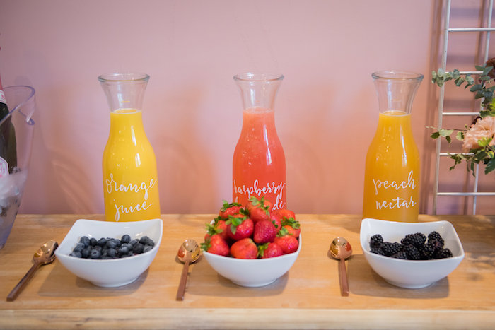 Mimosa bar from a Fall Boho Chic Baby Shower on Kara's Party Ideas | KarasPartyIdeas.com (22)