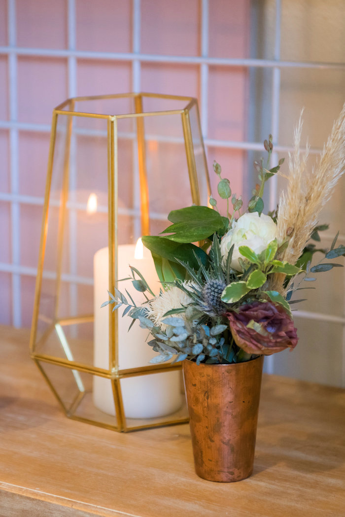 Wire lantern and blooms from a Fall Boho Chic Baby Shower on Kara's Party Ideas | KarasPartyIdeas.com (21)