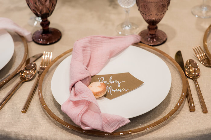 Table setting from a Fall Boho Chic Baby Shower on Kara's Party Ideas | KarasPartyIdeas.com (36)