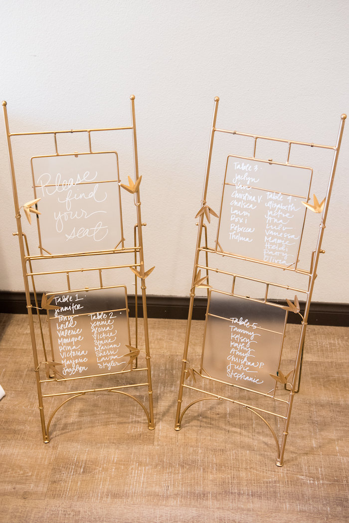 Wire & glass seating chart from a Fall Boho Chic Baby Shower on Kara's Party Ideas | KarasPartyIdeas.com (16)